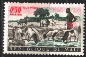Mali. 1961. 30 of the series. Shepherd, cows. MNH.