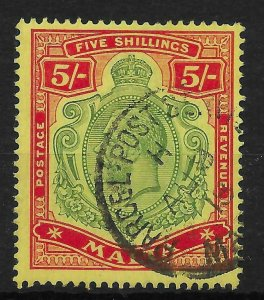 MALTA SG88 1917 5/= GREEN & RED ON YELLOW USED