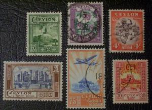Ceylon Scott #307-312 used