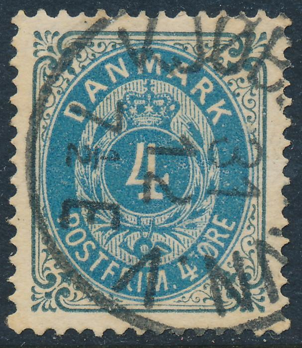 Denmark Scott 26 (AFA 23), 4ø grey & blue Bicolour, VF Used