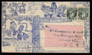 Nigeria 1940s KGVI HAND-DRAWN cover to Chicago Ill
