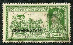 CHAMBA STATE SG88 KGVI 3a yellow-green Used a bit grubby (genuine postmark)