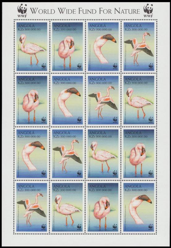 Angola Birds WWF Lesser Flamingo Sheetlet of 4 sets SG#1402-1405 SC#1058 a-d