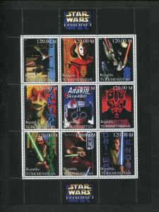 Turkmenistan Commemorative Souvenir Stamp Sheet Lucas Films Star Wars Episode I