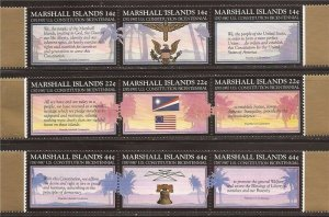 Marshall Islands - 1987 US Constitution - Set of 3 3 Stamp Strips #145a-51a