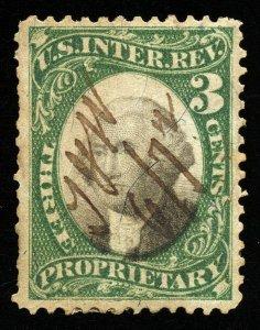 B209 U.S. Revenue Scott #RB3a 3-cent proprietary, violet paper, SCV=$32.50