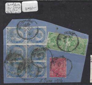 INDIA   (P0308BB)  KGV  2 1/2A BL OF 6+1/2AX2+1A PIECE FROM BUSHIRE SON CDS  VFU