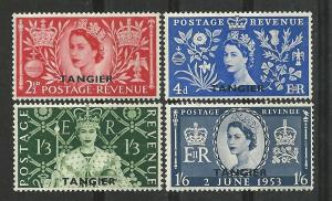 Great Britain-Tangier # 579-82 QE II Coronation (4) Unused LH
