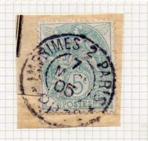 France 1900-24 Blanc Specialised . Fine Used 5c. Postmark Piece 280021