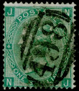 SG101b, 1s green plate 4, USED. Cat £380. WMK EMBLEMS. THICK PAPER. NJ