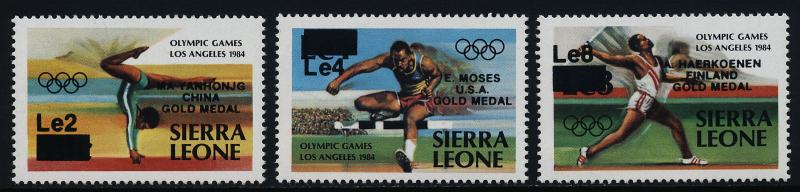 Sierra Leone 699-701 MNH Olympic Games, Athletics, Gold Medal winners