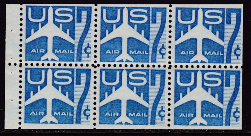 United States 1958 Air mail  7Cent blue C51a Booklet Pane of 6.  F/VF/Mint(*)