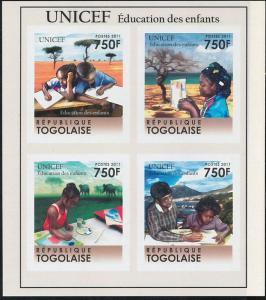 TOGO, ERROR, 2011 IMPERF SHEET: UNICEF Children's Education, Books, Wild fauna