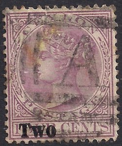 Ceylon 1888 - 90 QV 2ct Ovpt on 4ct Rosy Mauve used SG 204 ( K800 )