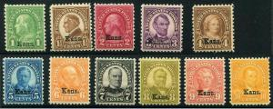 HERRICKSTAMP UNITED STATES Sc.# 658-68 Kansas Very Fine Centering, Mint LH
