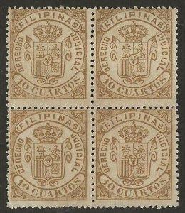 Philippines 1878 Revenue Derecho Judicial 10c Bistre Mint BLOCK Fine H