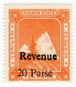 (I.B) India (Princely State) Revenue : Sikkim Duty 20p on 10p OP
