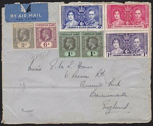 GILBERT & ELLICE 1938 airmail front with GV 3/1½d franking ex Ocean Is....68838