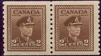 Canada USC #279 Mint Pair VF-NH 1948 2C Brown Coil Perf. 9.5 Cat. $60.