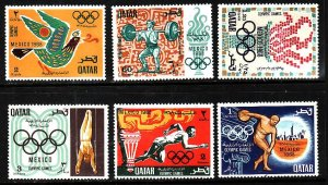 Qatar-Sc#140-5-Unused hinged set-Sports-Olympics-Mexico-1968-