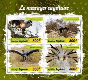 TOGO - 2019 - Birds : Secretarybird - Perf 4v Sheet - M N H