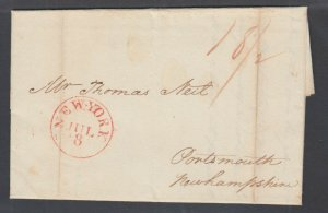 US 1816 Stampless Self Folded Letter, N.Y. to Portsmouth w/ contents