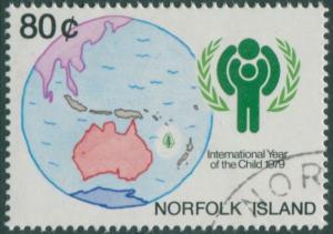 Norfolk Island 1979 SG229 80c IYC emblem and map FU