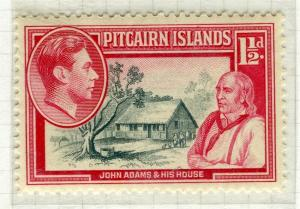 PITCAIRN ISLANDS; 1938 early GVI pictorial issue fine Mint hinged 1.5d. value