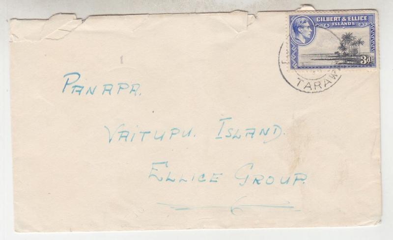 GILBERT & ELLICE ISLANDS, 1950 native cover, KGVI 3d., Tarawa to Vaitupu Island