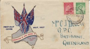 AFD1636) Australia 1937, Coronation of King George VI cachet, FDC.