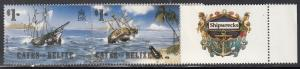 Cayes of Belize, Sc # 26, MNH, 1985, Shipwrecks, 1 strip not 2 as shown