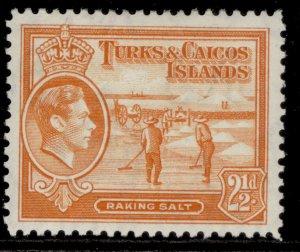 TURKS & CAICOS ISLANDS GVI SG199a, 2½d orange, M MINT.