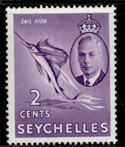 SEYCHELLES GVI SG158, 2c lilac, LH MINT.
