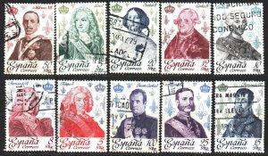 Spain. 1978. 2388-97. Kings and queens of Spain. USED.