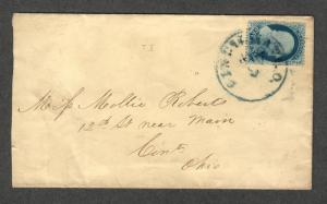 US Sc#20 Type II On Cover Cincinnati OH, Crowe Cert., Cv. $325