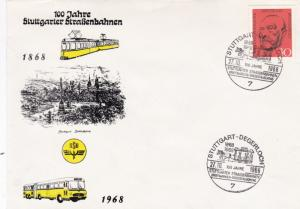 West Germany 1968 100th anniversary of Transport in Stuttgart FDC Unadressed VGC