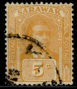 SARAWAK GV SG66, 5c yellow-orange, FINE USED.