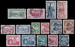Czechoslovakia Scott 195 // 211 (1934-35) Used H F-VF Complete Sets B