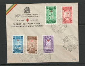 Ethiopia 1950 red Cross Fund, Cacheted FDC, Unaddressed SG 399a/e