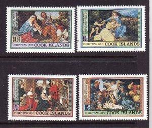 Cook Islands-Sc#1042-5-unused NH set-Christmas-Paintings-1990-