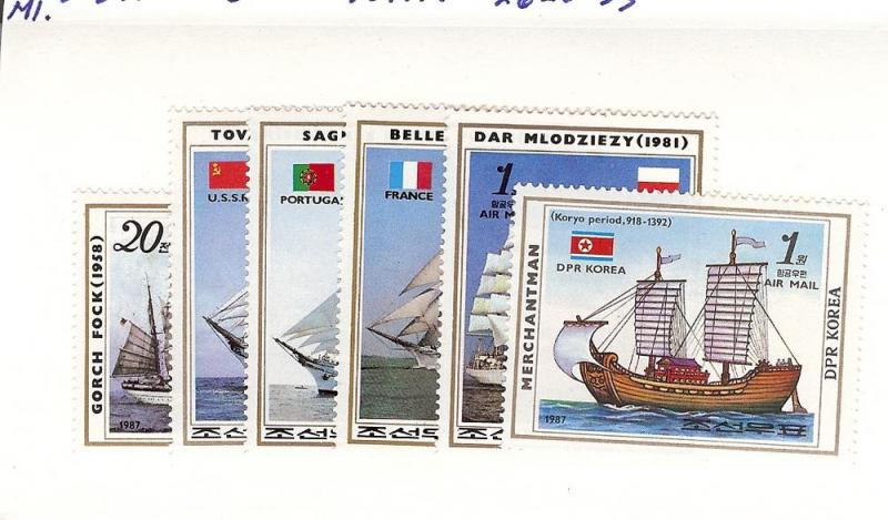 Korea (North-DPR), 2628-33, Sailing Ships Singles, MNH