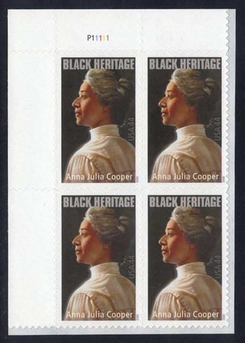 US #4408 Anna Julia Cooper Plate # Block of 4, MNH (3.60)