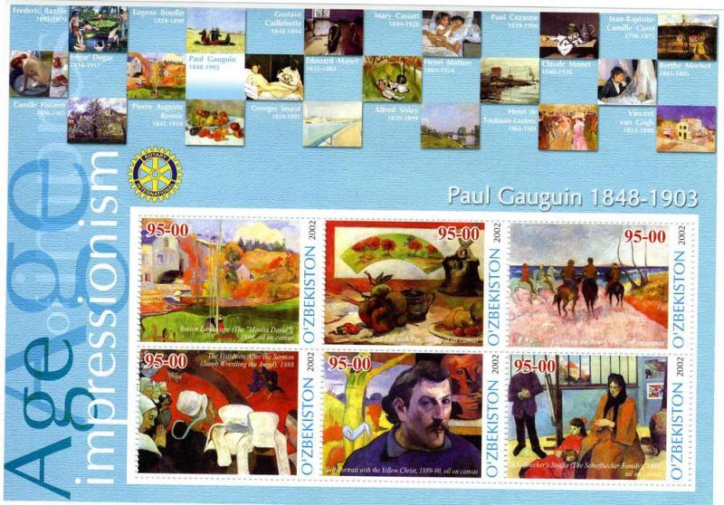 UZBEKISTAN 2002 Paul Gauguin Paintings Sheet Perforated mnh.vf