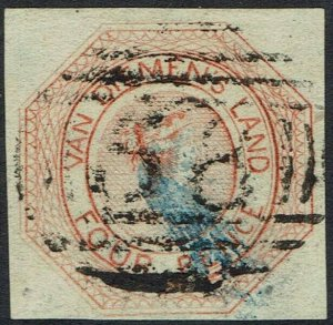 TASMANIA 1853 QV COURIER 4D USED WITH CERTIFICATE