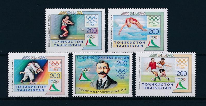 [56423] Tajikistan 1996 Olympic games Judo Football Diving MNH
