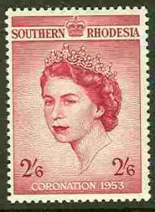 So. Rhodesia # 80 QE II Coronation  (1)  Unused VLH