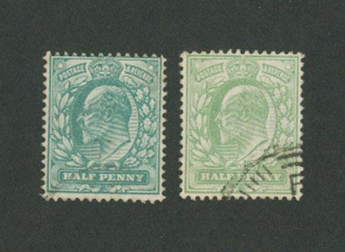 Great Britain Edward VII  1/2d   dull yellow green & ??? FU