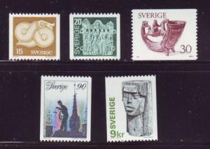 Sweden Sc 1173-77 1976 Art & Crafts stamp set mint NH