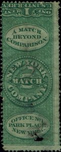 RO#138b 1862 1c THE NEW YORK MATCH CO. MATCH AND MEDICINE ISSUE MINT--FAULTS