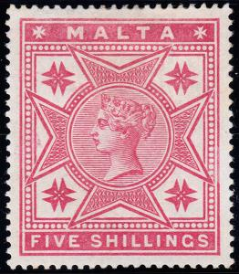 Malta Scott 14 (1886) Mint H VF, CV $125.00 B